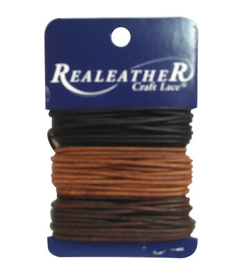 Round Leather Lace 2mm Carded 8yd-Ebony/Cedar/Mahogany