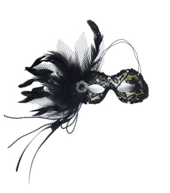 Maker's Halloween Lace Mask with Feathers-Black & Gold