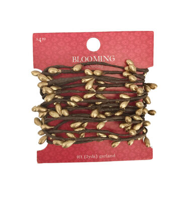 Blooming Holiday Christmas 9' Berry Roping Garland-Champagne
