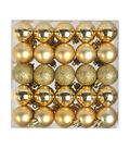 Holiday Cheer Shatterproof Ornaments-30Mm-Gold-50 Piece