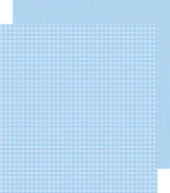 "Doodlebug Petite Prints Gingham/Linen Cardstock 12""X12""-BuBubblee Blue"