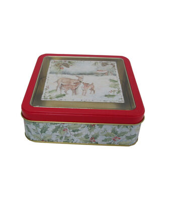 Maker's Holiday Christmas Small Square Clear Top Cookie Tin-Deer