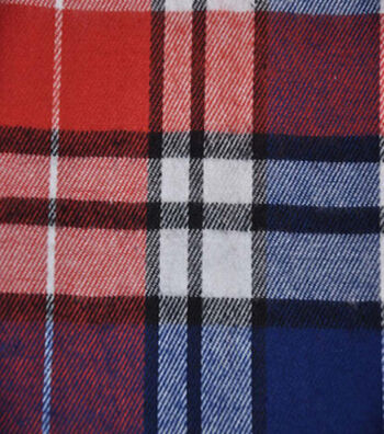 """Flannel Shirting Fabric 42.9""""-Red Navy Green White"""