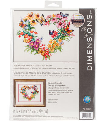 """Wildflower Wreath Counted Cross Stitch Kit-14""""X11"""" 14 Count"""