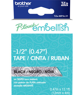 Brother™ P-touch Embellish Patterned Tape-Black Print on Silver Lace