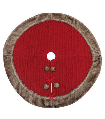 Maker's Holiday Christmas Knit Tree Skirt with Fur Trim-Red & Brown