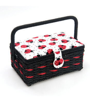 Small Rectangle Sewing Basket-Ladybug