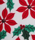 Holiday Showcase Christmas Cotton Fabric 43\u0027\u0027-Poinsettia & Holly on White