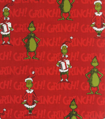 """Holiday Cotton Fabric 44""""-Grinch on Red"""