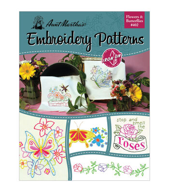 Aunt Martha's Iron-On Transfer Books- Flowers and Butterflies