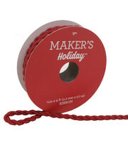 Maker's Holiday Christmas Cord Ribbon 1/6''x9'-Red, , hi-res