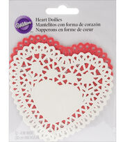 "Wilton® Paper Doilies-Red & White Heart 4"" 12/Pkg, , hi-res"