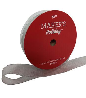 Maker's Holiday Christmas Value Ribbon 1.5''x125'-Silver