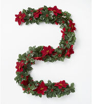 Blooming Holiday 66'' Poinsettia, Berry & Holly Leaves Chain Garland-Red, , hi-res