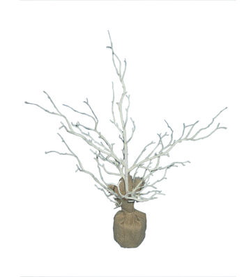 Easter Small Twig Tree with Burlap Base-White