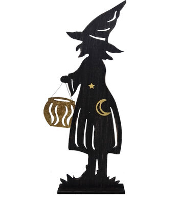 Maker's Halloween Wood Witch Silhouette Porch Sitter Sign