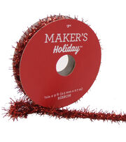 Maker's Holiday Christmas Tinsel Ribbon 3/8''x9'-Red, , hi-res