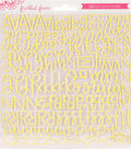 Freckled Fawn 128 pk Puffy Alpha Stickers-Yellow Script