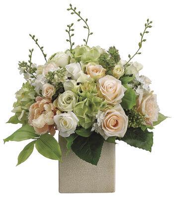Bloom Room Luxe 19'' Peony, Rose & Hydrangea In Ceramic-Pink