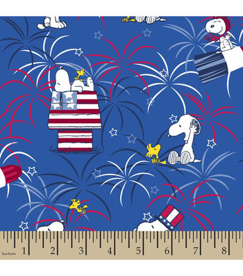 Patriotic Cotton Fabric 43''-Peanuts & Fireworks