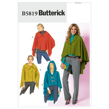 Butterick Pattern B5819-Misses' Asymmetrical Wraps and Capes
