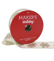 Maker's Holiday Christmas Ribbon 1.5''X30'-Gold Snowflakes on Ivory, , hi-res