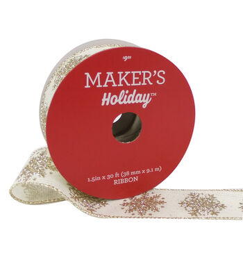 Maker's Holiday Christmas Ribbon 1.5''X30'-Gold Snowflakes on Ivory