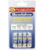 Beadalon Crimp Bead Variety Pack 600/Pkg-Silver Plated, , hi-res
