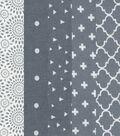 Fat Quarter Bundle Cotton Fabric 5-Pieces 18\u0027\u0027-Assorted Patterns On Gray