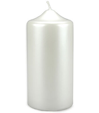 Darice® Pearlized Pillar Candle-White