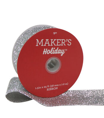 Maker's Holiday Christmas Glitter Ribbon 1.5''x25'-Silver