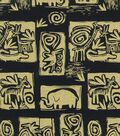 Ethnic Fabric- Animal Wall Art Black Cotton Metallic