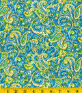Made In America Cotton Fabric - Teal Paisley