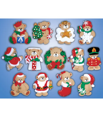 "Lots Of Bears Ornaments Felt Applique Kit 3""X4"" Set Of 13"