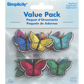 Assorted Butterflies Iron On Applique Pack, 12 pcs