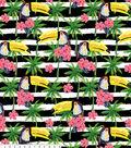 Anti-Pill Fleece Fabric 58\u0022-Toucan On Black White Stripe
