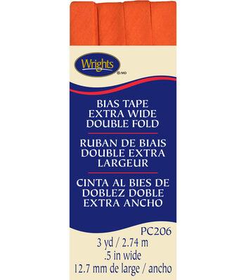 Xwide Double Fold Bias Tape 3Yd Orange Peel