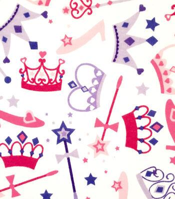 "Doodles Juvenile Apparel Fabric 57""-Princess Crowns Interlock"