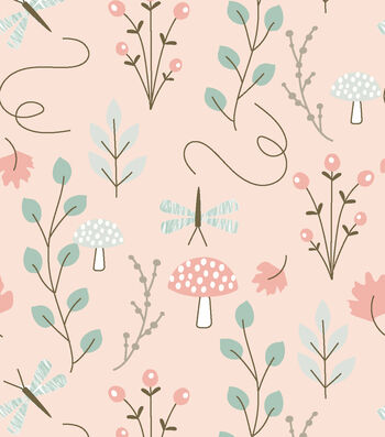 Nursery Flannel Fabric 42''-Woodland Floral on Coral