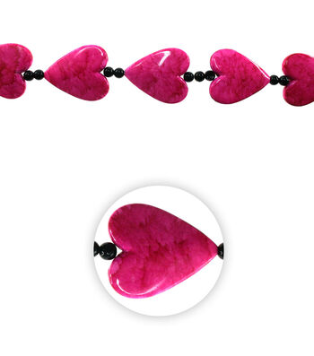 "12"" Urban Funky Bead Strand-Pink Hearts"