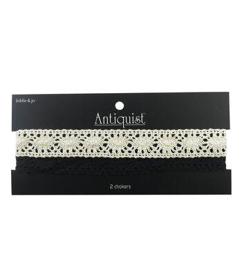 hildie & jo™  Antiquist 2 Pack 15'' Crochet Chokers-Black & Cream