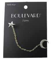hildie & jo™ Boulevard Dual Pin Star & Moon with Chain Connector, , hi-res