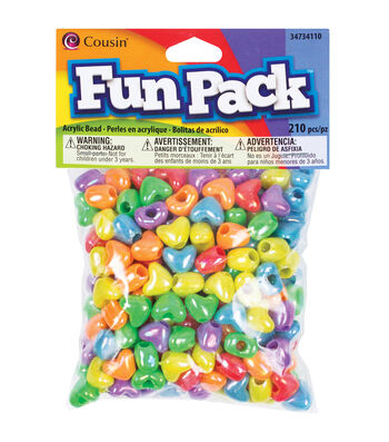 Fun Pack Heart Pony Beads 210/Pkg-Assorted Colors