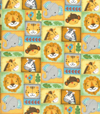 "Nursery Flannel Fabric 42""-Zoo Animal Patchwork"
