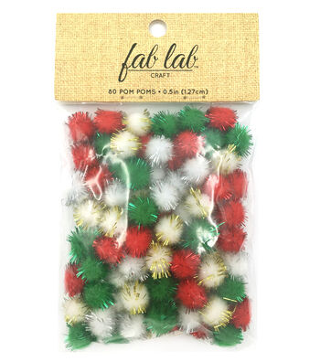 "Big Value 1/2""Holiday Multi Poms"
