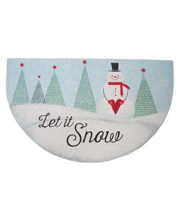 Maker's Holiday Christmas Semi-circle Rubber Mat-Snowman & Let It Snow