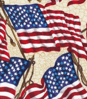 """Patriotic Cotton Fabric 43""""-Waving Flag"""