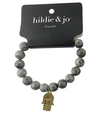 hildie & jo Beads Stretch Bracelet-Gray with Gold Hamsa Charm