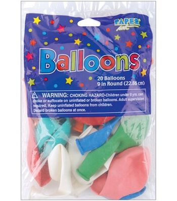 """Balloons 9"""" Round-20PK Assorted Colors"""