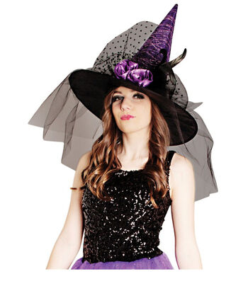 Maker's Halloween Witch Hat with Flowers & Tulle-Purple